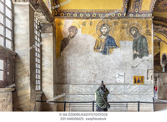 ISTANBUL, TURKEY- MARCH 11, 2017: A Byzantine mosaic in the old church Hagia Sophia ,a Greek Orthodox Christian patriarchal basilica (church),built in 537 AD