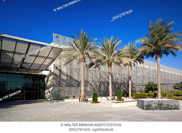 UAE, Abu Dhabi, Saadiyat Island, Manarat Al Saadiyat, welcome center for museum island development, exterior