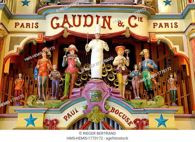France, Rhone, Collonges au Mont d'Or, Paul Bocuse Restaurant L'abbaye de Collonges dedicated to receptions, personalized limonaire (barrel organ)