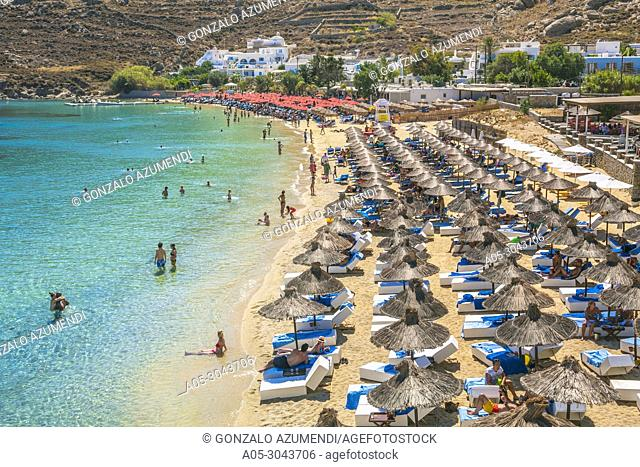 Psarou Beach. Mykonos Island. Ciclades Islands. Greece
