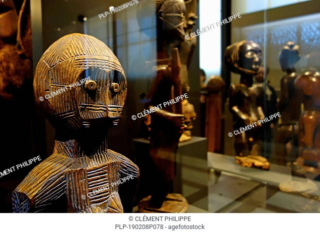 Wooden African statuettes in the AfricaMuseum / Royal Museum for Central Africa, ethnography and natural history museum at Tervuren, Belgium