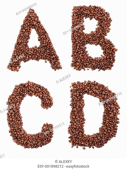 coffee letter isolated on white