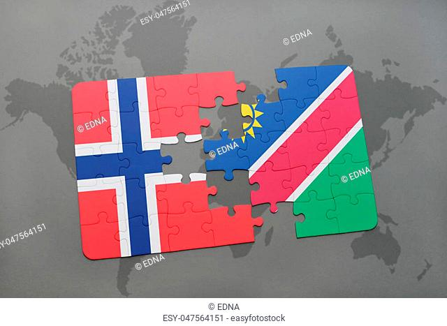 puzzle with the national flag of norway and namibia on a world map background. 3D illustration