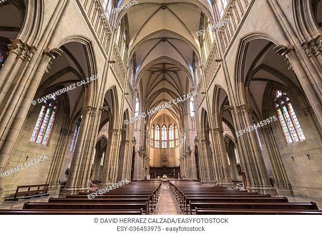 Inside of Buen pastor cathedral in San Sebastian, Basque Country, Spain