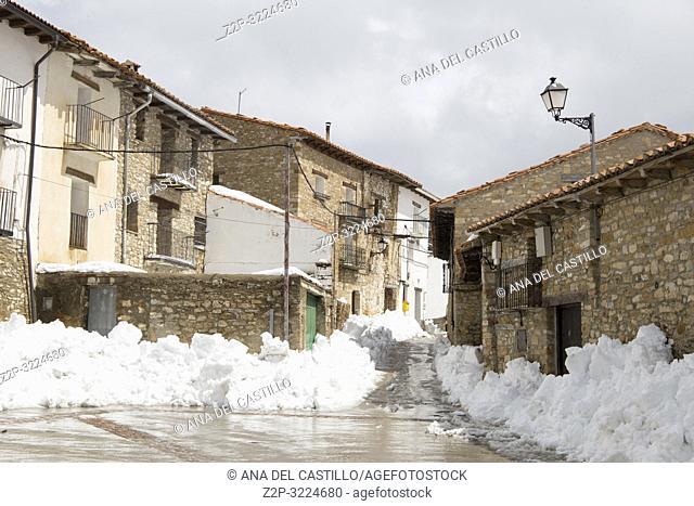 Valdelinares in snow Gudar mountains Teruel Aragon Spain