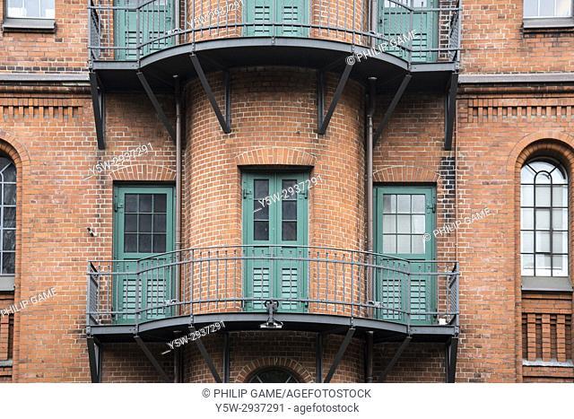 Balconies in the 1920s warehouse district of Speicherstadt, Hamburg, Germany