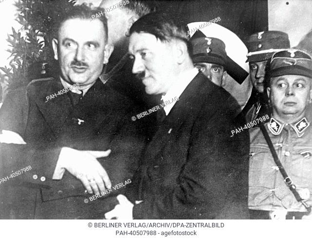The Nazi Propaganda! image shows Adolf Hitler with Bernhard Rust (l, 1934 until 1945 Reich Minister for Science, Education and National Culture) after a rally...