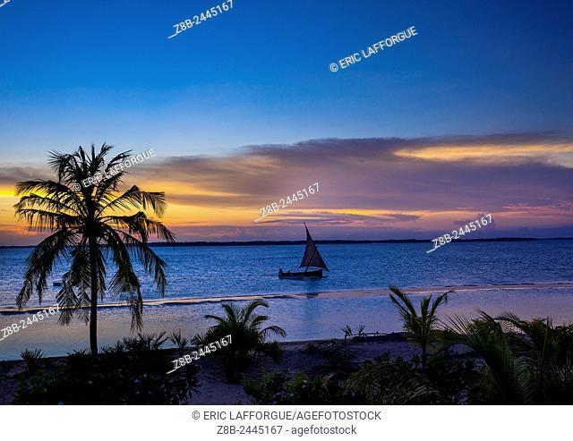 Dhow In The Sunset, Lamu County, Kizingoni Beach, Kenya