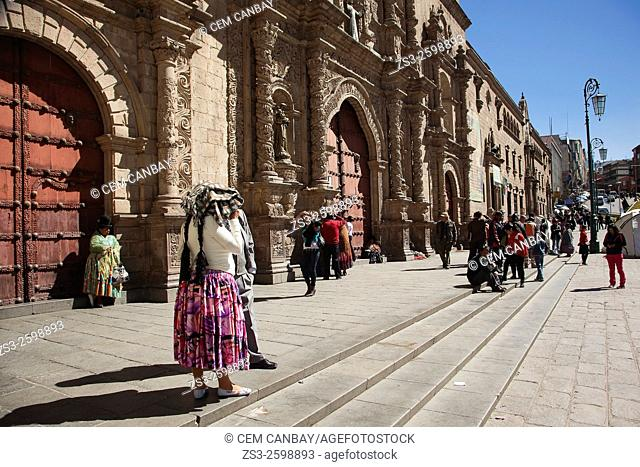 Indigenous people in front of the San Francisco Church, La Paz, Bolivia, South America
