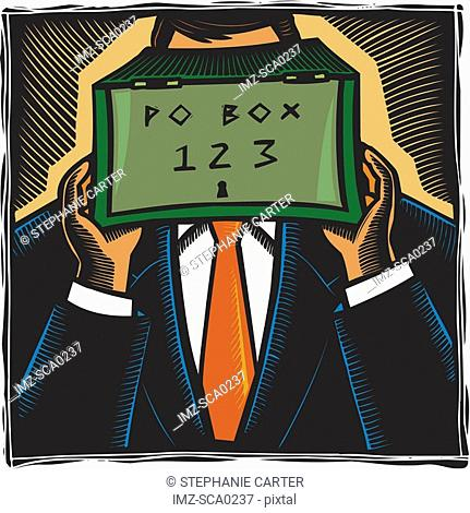 A man holding a post office box in front of his face