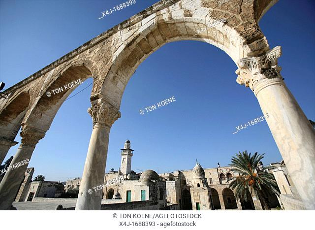 A closeup of ancient columns near the Dome of the Rock on Temple Mount in the Old City of Jerusalem