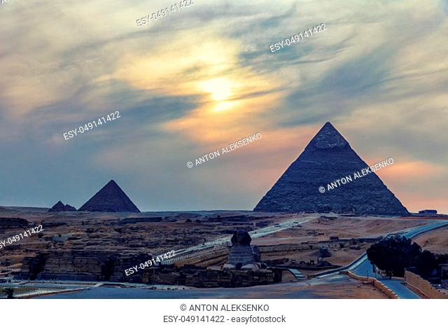 The Pyramides and the Sphinx, twilight view