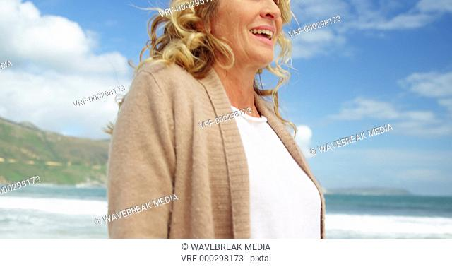 Beautiful woman enjoying on beach