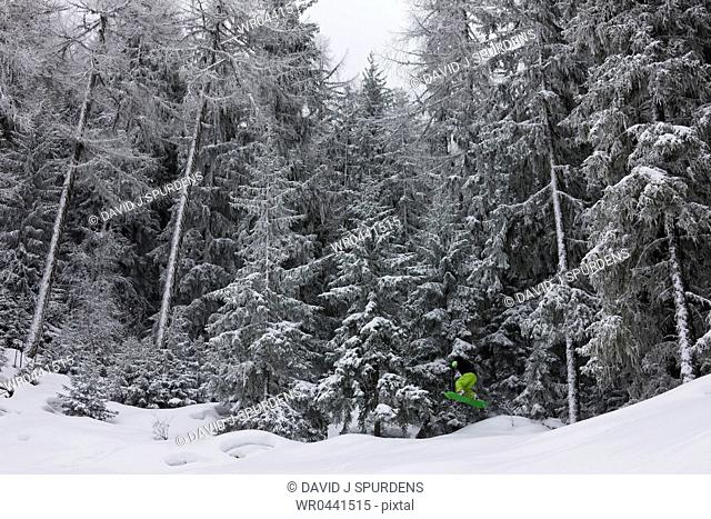 Snowboarder jumps out of a snowy alpine forest