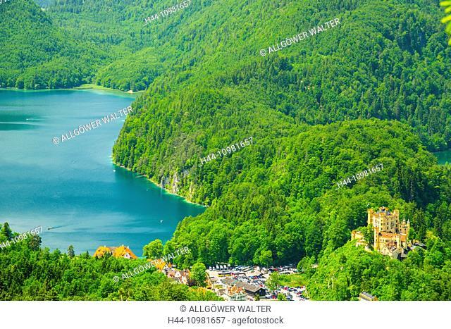 Hohenschwangau castle and lake in Bavaria