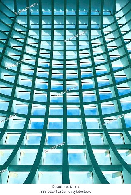 Geometric ceiling of office building