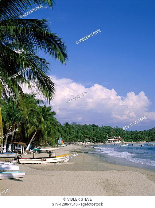 Beach, Boats, Escondido, Holiday, Landmark, Mexico, Palm, Palms, Puerto, Shore, Tourism, Travel, Trees, Vacation