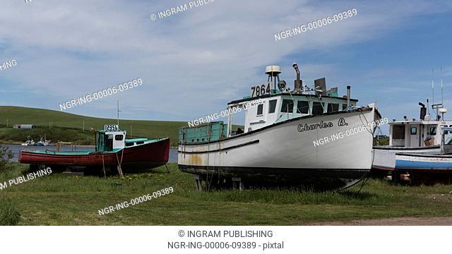 Fishing trawlers at harbor, Cabot Trail, Cape Breton Island, Nova Scotia, Canada