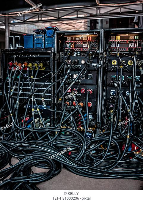 Rear view of amplifiers and cables