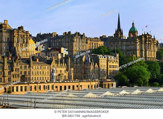 View over the roof of the main station on the city with the University of Edinburgh, Edinburgh, Scotland, United Kingdom