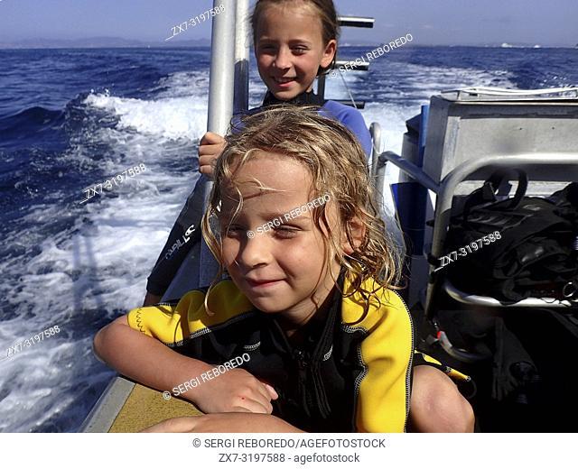 Vellmari Dive Center, Formentera, Balearic Islands, Mediterranean Sea, Spain. Children doing snorkeling