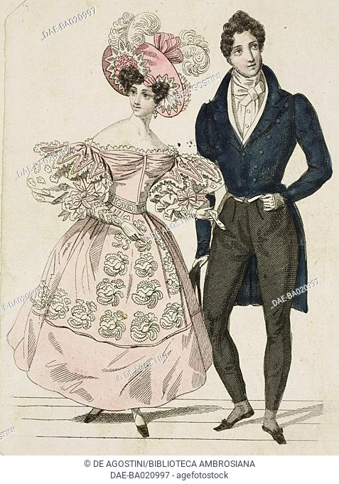 Woman wearing a pink dress with puffed sleeves, embroidered with floral motifs and a pink hat decorated with ribbons and feathers, man wearing a formal suit