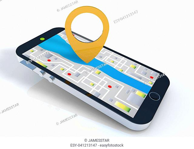 Smart phone with map pin