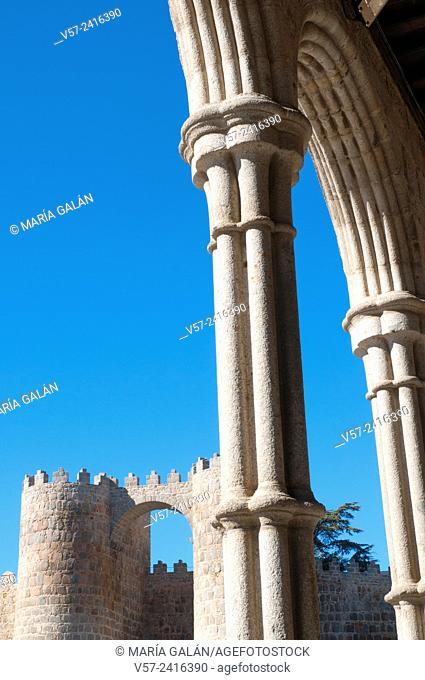 City wall from the portico of San Vicente church. Avila, Castilla Leon, Spain