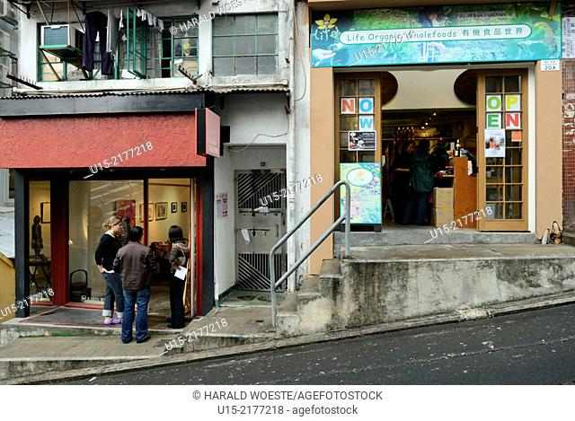 Hong Kong, China, Asia. Steep streets and small shops in Hong Kong Soho