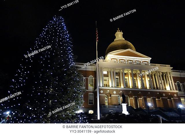 State House and Lit Tree, Boston, Massachusetts, USA