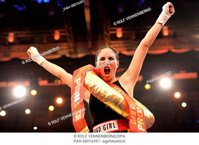 Celebrity boxer Tessa Bergmeier cheers after fighting Nadja Abd El Farrag in the ring during the televised Sat.1 celebrity boxing event in Duesseldorf, Germany