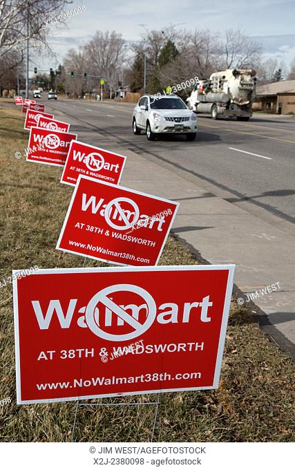 Wheat Ridge, Colorado - Signs protest plans for a Walmart store in a Denver suburb