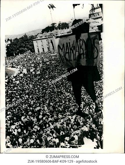 Jun. 06, 1958 - Demonstrations In Istanbul. Thousands of demonstrators, demanding the partition of Cyprus, had to be dispersed by troops and tanks in Istanbul