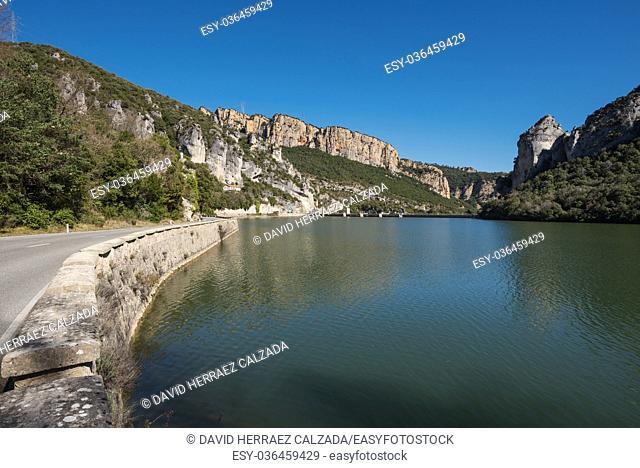 Landscape of Ebro river and Sobron dam in El Sobron canyon, north Burgos province, castilla y Leon, Spain