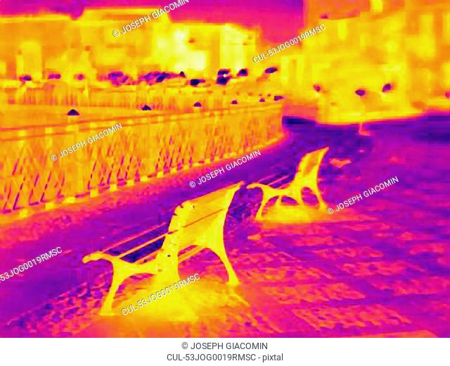 Thermal image of benches on city street