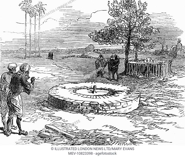 The well at Cawnpore at Lucknow, India, pictured as it was in 1860. The dried up well was used to dispose of the bodies of British women and children massacred...