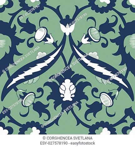 Arabesque damask vintage decor ornate seamless floral decoration print for design template vector. Eastern style pattern