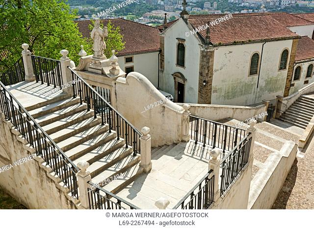 Stairs down to the city from Paço das Escolas, University of Coimbra, District Coimbra, Portugal, Europe