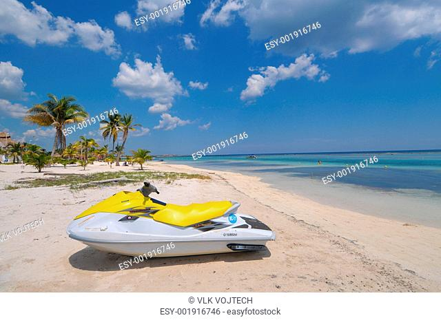 Picture of water scooter on beach of Mahahual in Mexico