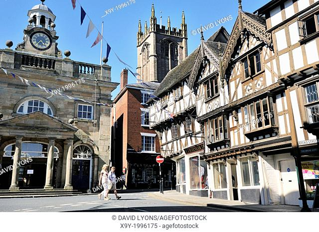 Medieval town of Ludlow, Shropshire, England. King, High and Broad streets meet at the Butter Cross beside St. Laurence Church