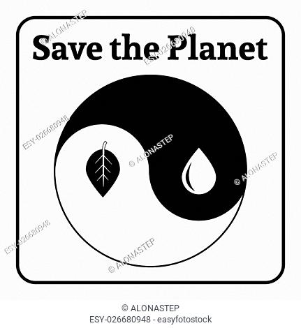 Yin Yang symbol. Concept Save the Planet. Natural themed yin-yang emblem. Eco elements. Organic Bio. Icon of harmony signs representing balance with nature or...