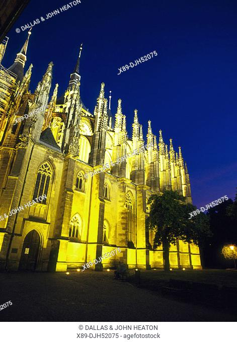 Floodlit, Church of St, Barbara, Kutna Hora, Czech Republic