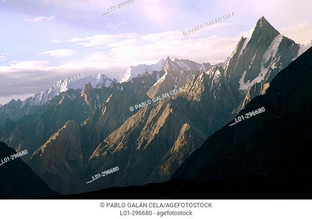 Mountains Karakorum in Biafo Glacier Region. Pakistan