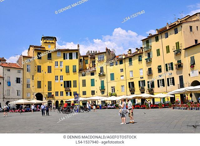 Piazza Anfiteatro Lucca Italy Tuscany Europe Mediterranean