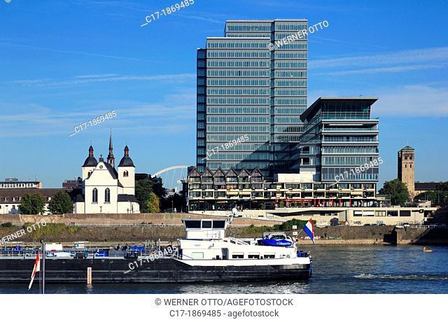 Germany, Cologne, Rhine, Rhineland, North Rhine-Westphalia, NRW, Cologne-Deutz, Rhine promenade, Deutz Abbey, monastery church Alt Saint Heribert