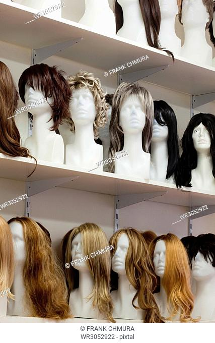 Row of Mannequin Heads with Wigs on the Shelf