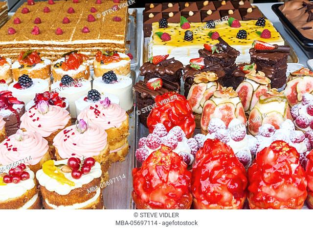 England, London, Piccadilly, Patisserie Shop Window Display of Cakes