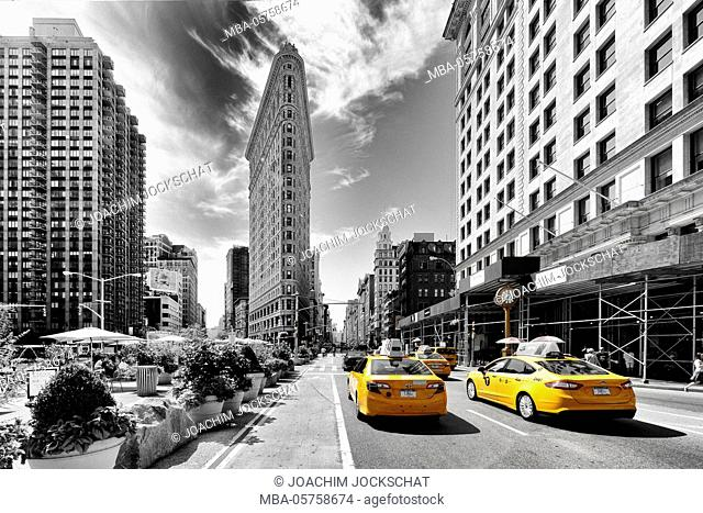 New York City, Manhattan, USA, America, Flatiron Building in the Fifth Avenue, New York City, Manhattan, USA