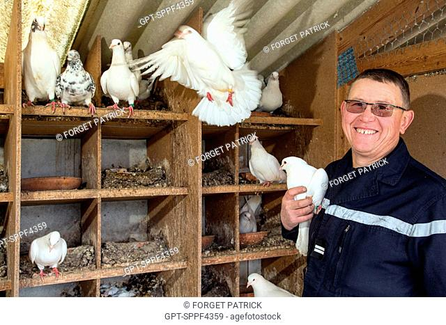 LIEUTENANT FABRICE GOURAUD, PIGEON FARMER AND VOLUNTEER FIREFIGHTER, CHIEF OF THE EMERGENCY SERVICES CENTER OF SAINTE-CECILE, VENDEE (85), FRANCE