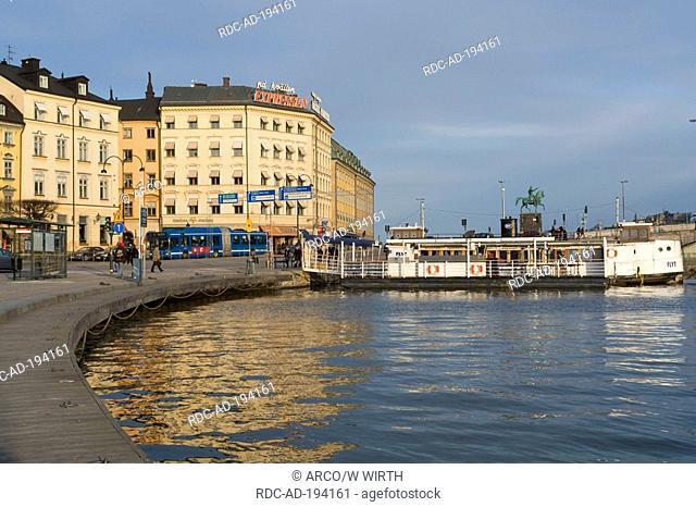 Landing stage, Kornhamnstorg square, old town Gamla Stan, Stockholm, Sweden